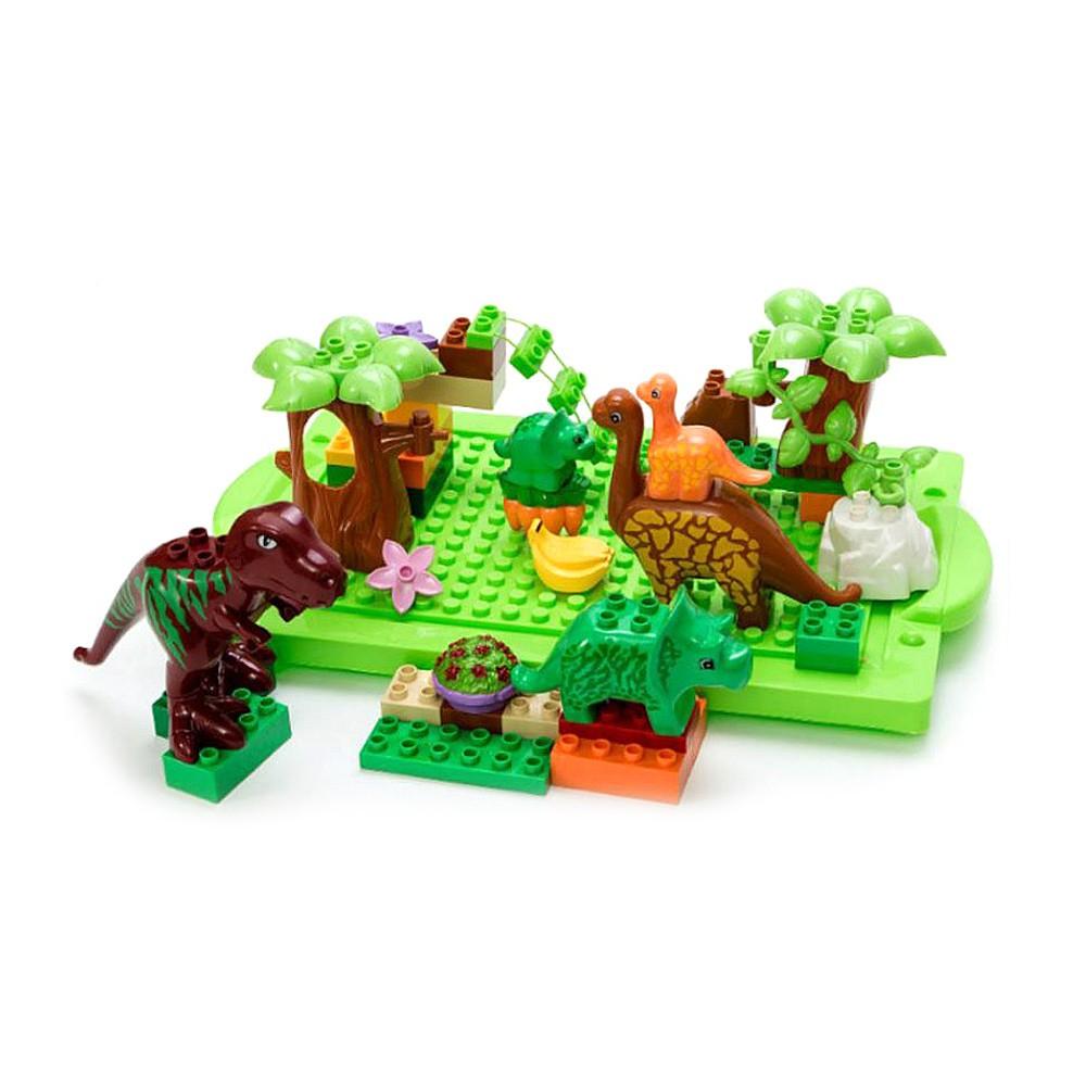 【孩子國】40PCS益智拼裝大顆粒積木-恐龍世界(與樂高相容)