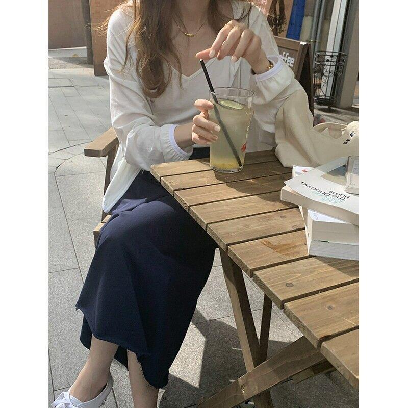 TG 寬鬆純色半身裙女2021夏季新款慵懶風直筒鬆緊高腰中長裙13935