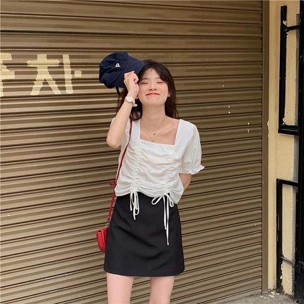 2021夏季新款方領襯衫女短袖抽繩短款高腰雪紡上衣洋氣小衫娃娃衫 【母親節特惠】