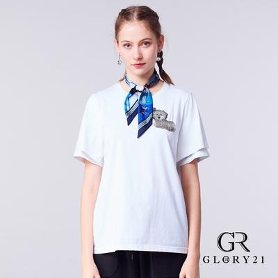【GLORY21】立體動物串珠休閒棉T-白色