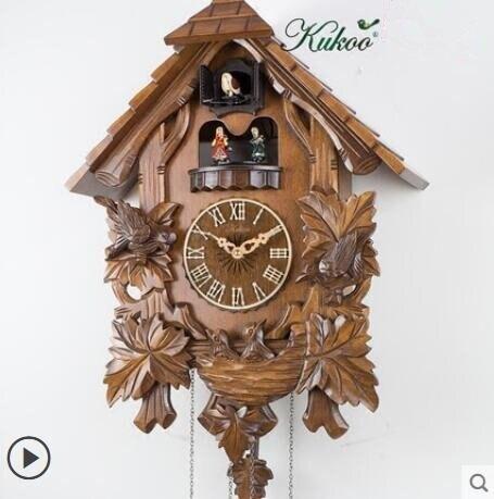 樂天優選 快速出貨 實木手工雕刻布穀鳥鐘咕咕音樂報時歐式新中式客廳掛鐘6039