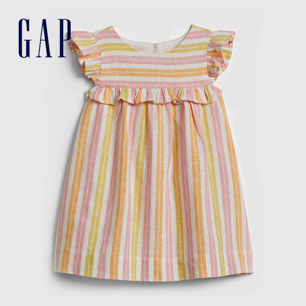 Gap 嬰兒 甜美輕盈花邊袖洋裝 583977-彩色條紋