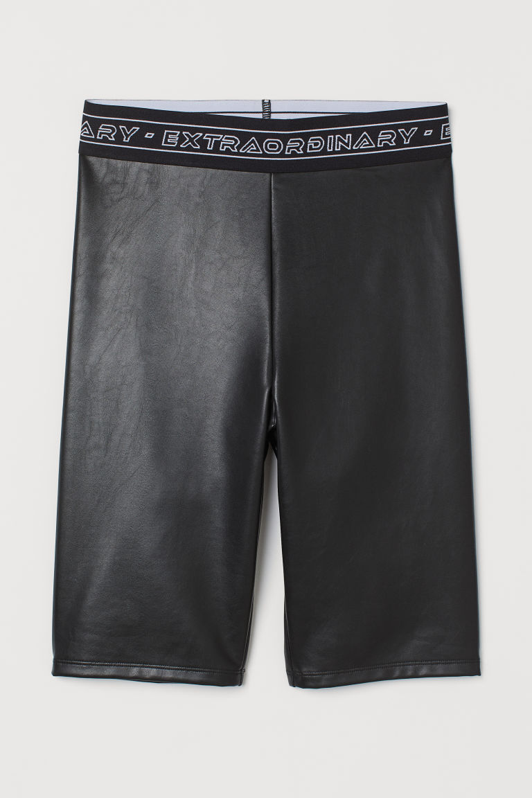 H & M - 仿皮自行車短褲 - 黑色