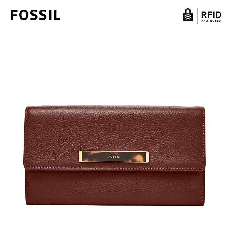【FOSSIL】Blake 釦式掀蓋RFID手提長夾-咖啡色 SL7945227