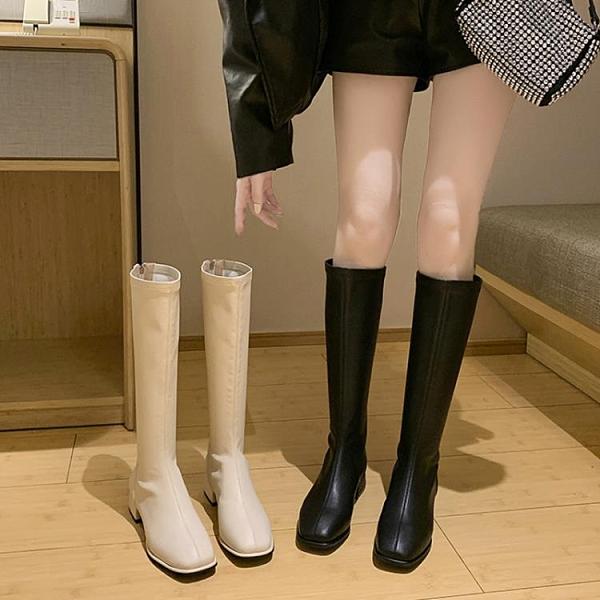小個子長靴女不過膝高筒騎士靴春秋單靴粗跟皮靴網紅大碼長筒靴子 pinkq時尚女裝