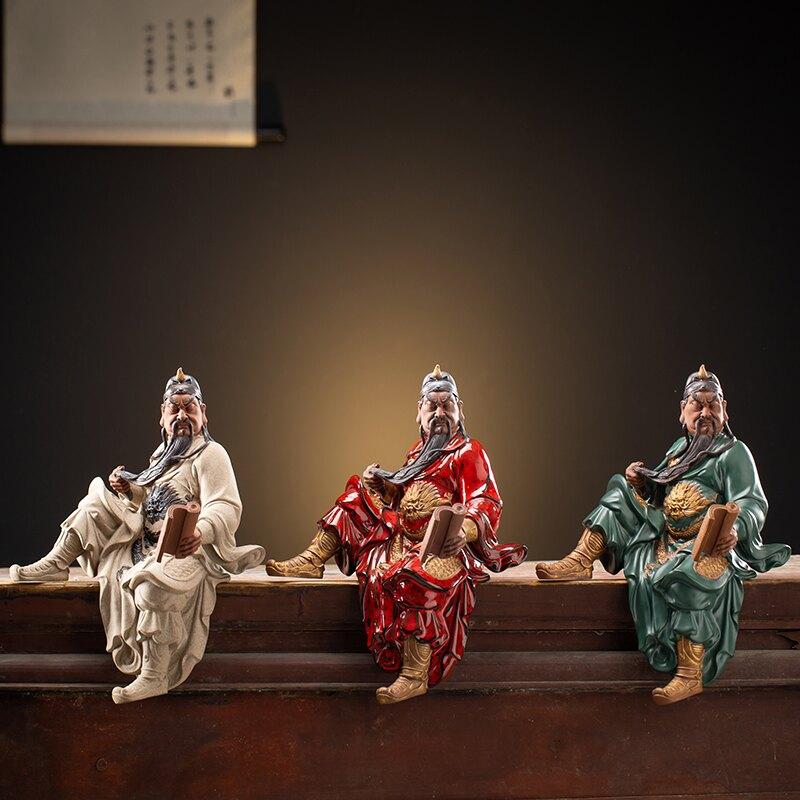 新中式禪意陶瓷關公擺件創意家居關羽工藝品客廳博古架裝飾品禮品