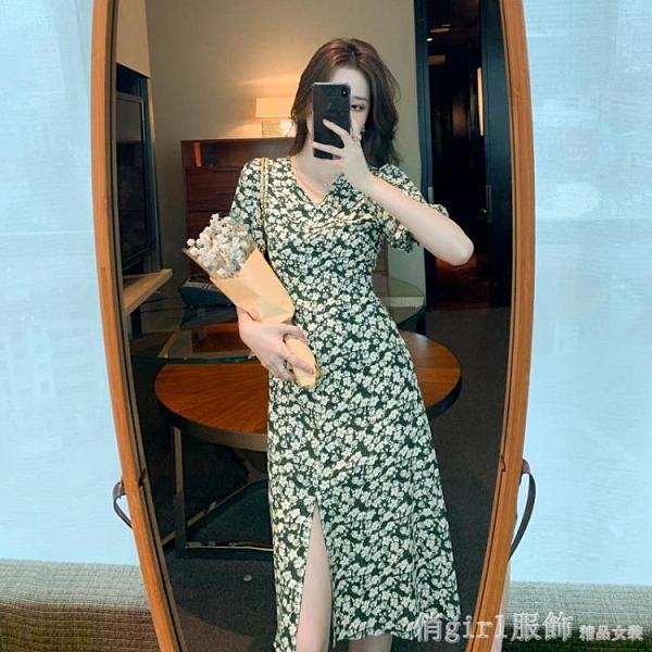 洋裝 夏裝2021新款氣質女裝法式碎花雪紡短袖連身裙子夏天顯瘦開叉長裙 618購物節