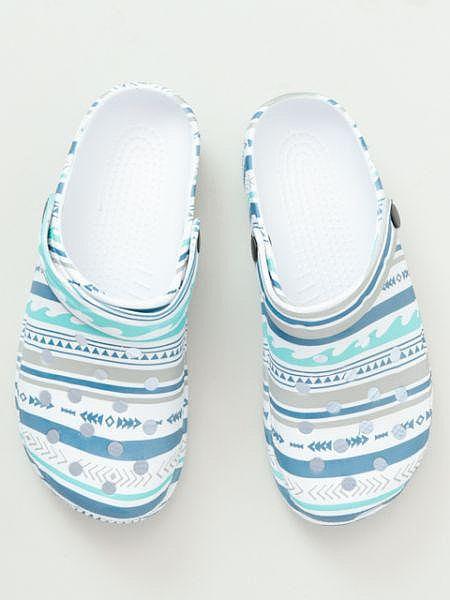 海條紋圖案 EVA 木底鞋