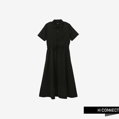 H:CONNECT 韓國品牌 女裝 - 簡約純色口袋排釦襯衫洋裝