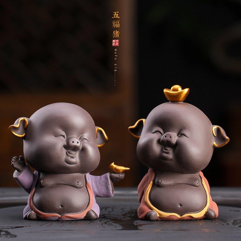2019卡通新年豬擺件創意可愛小豬裝飾雕塑春節賀歲吉祥物工藝品
