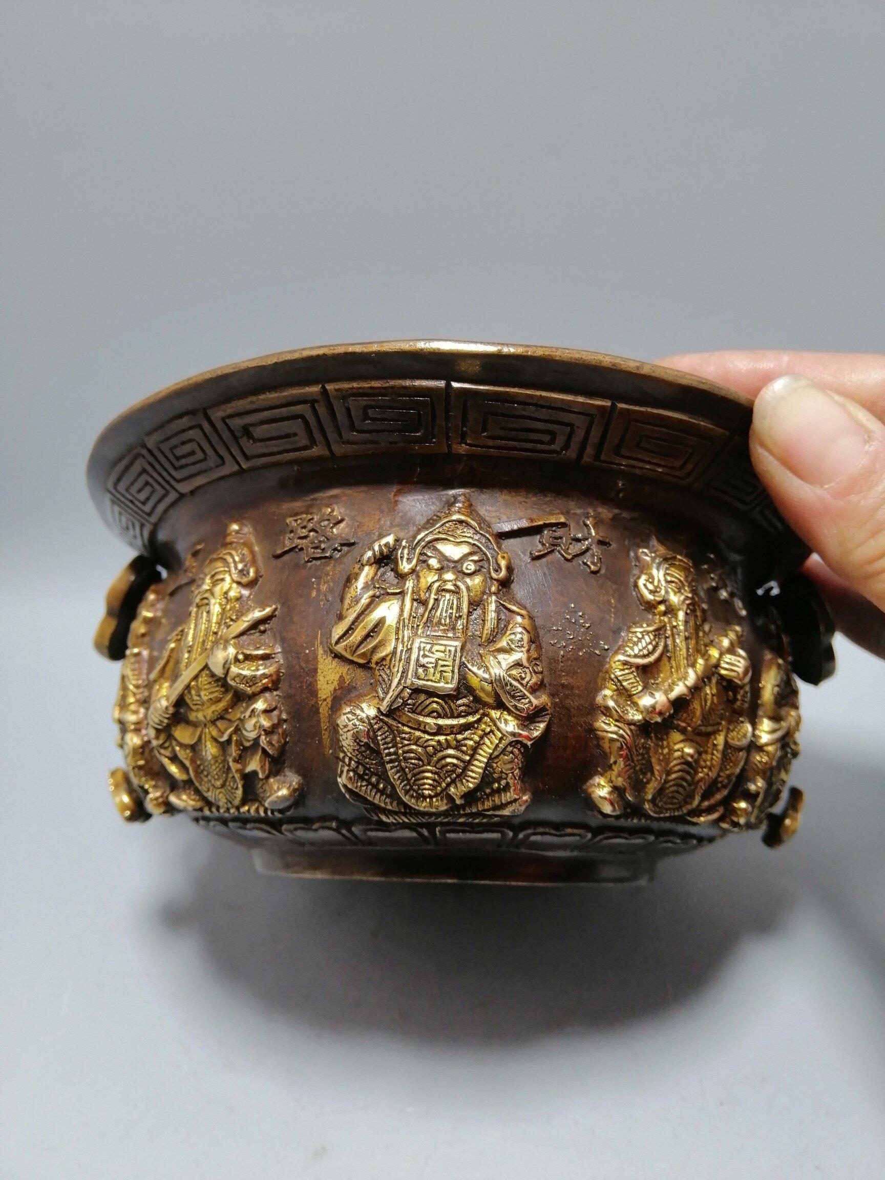 古玩雜項精美仿古做舊古玩書房工藝 黃銅鎏金五路財神聚寶盆擺件