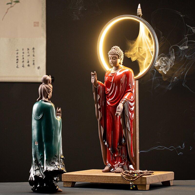 陶瓷西方三圣佛像新中式禪意擺件居家供奉如來觀音大勢至菩薩站像