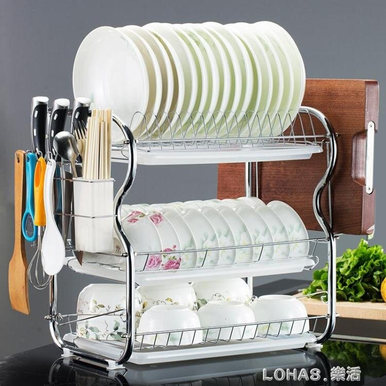 廚房置物架三層碗碟架碗架瀝水架滴水架收納架碗櫃用品晾放碗筷架