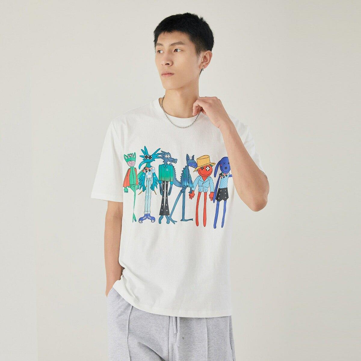 男裝日系清新修身短袖男純棉打底衫夏季潮牌卡通動漫印花T恤