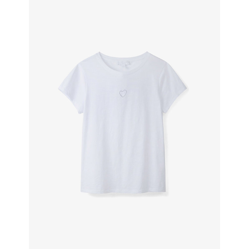 Heart-embroidered cotton-jersey T-shirt