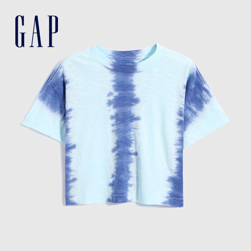 Gap 女童 純棉創意紮染短袖T恤 688751-藍色紮染