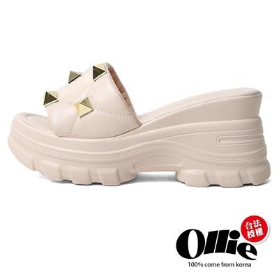 Aviator韓國空運-搖滾鉚釘皮革厚底舒壓飽和色系涼拖鞋-米-OLLIE預購+現貨