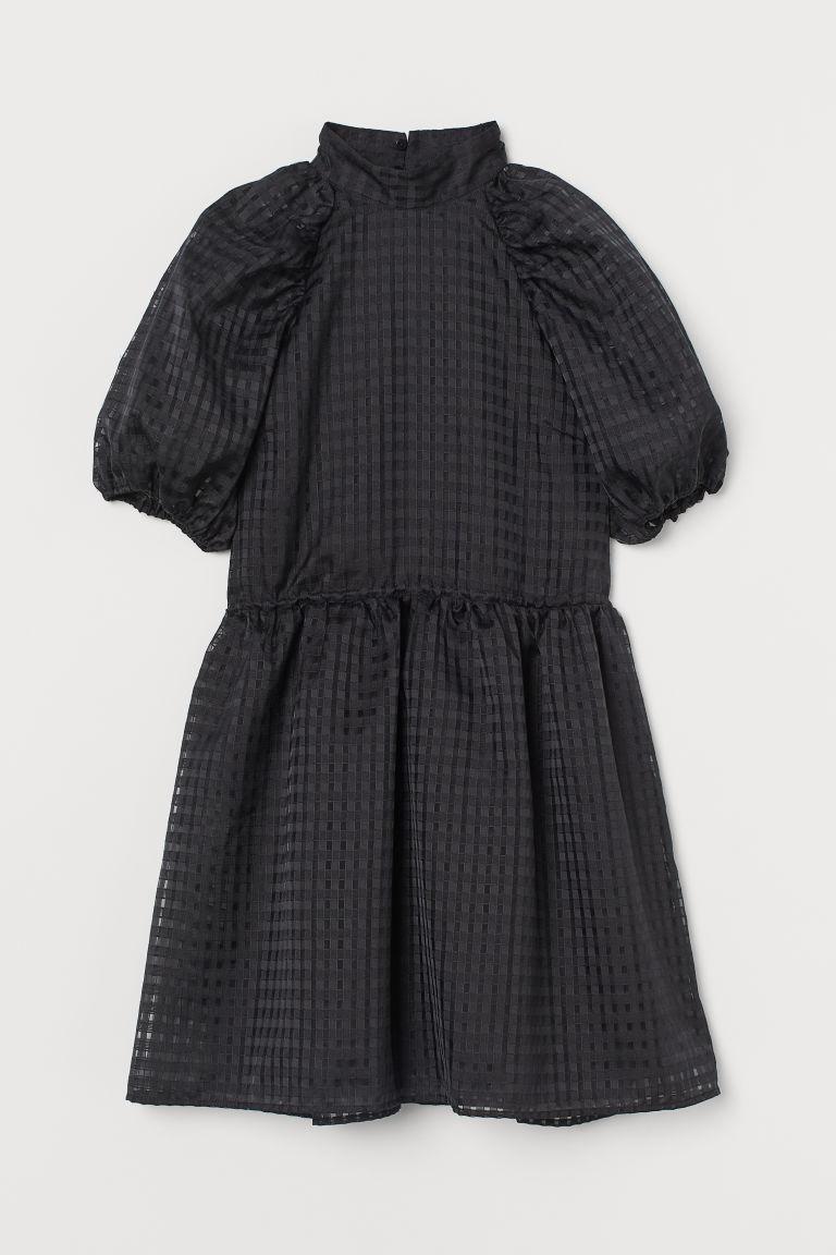 H & M - 提花平織洋裝 - 黑色