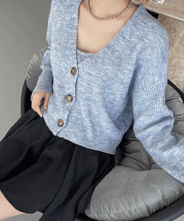 韓國空運 - Huntry Angora Sleeveless Cardigan SET 針織外套
