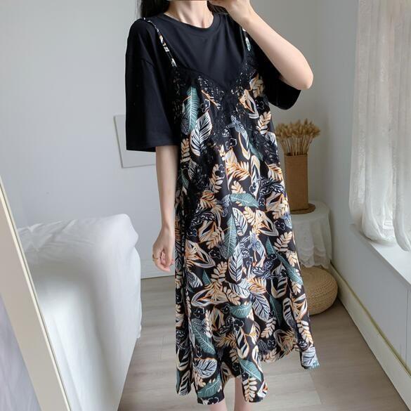 洋裝 拼接裙 中大尺碼 L-4XL新款大碼寬鬆顯瘦植物印花假兩件T卹連身裙R032-3908.胖胖美依