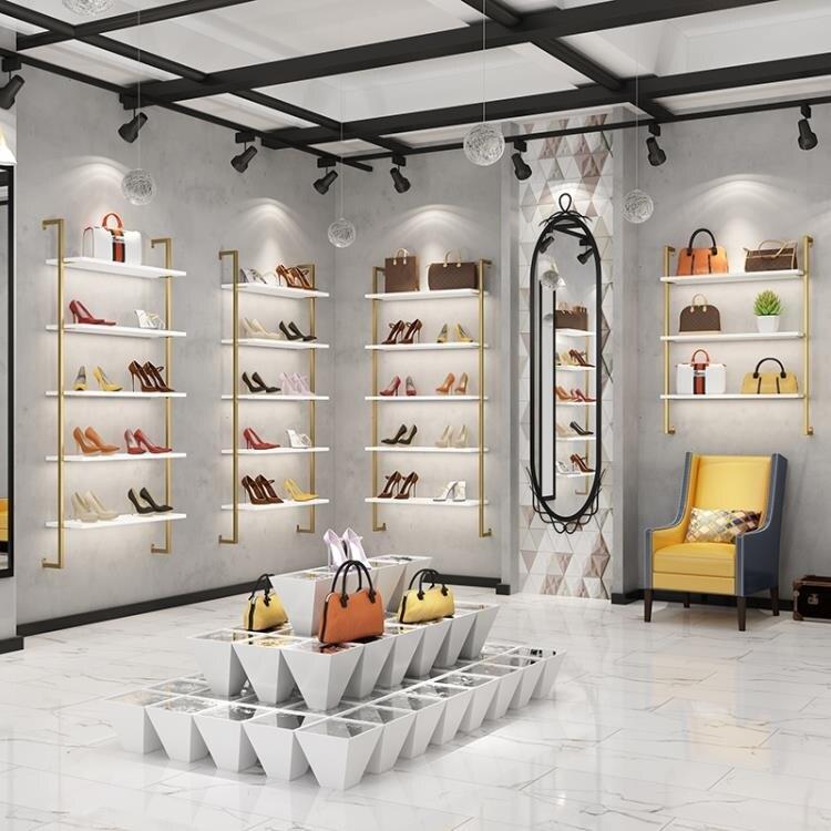 鞋店鞋架上牆展示架服裝店背景牆裝飾架櫥窗置物架壁掛包包鞋貨架ATF 艾瑞斯居家生活