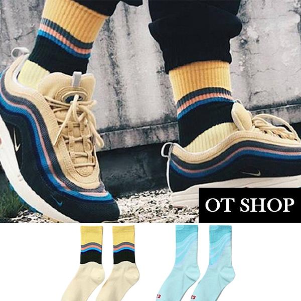 OT SHOP [現貨] 襪子 中筒襪 運動襪 男女款 精梳棉 拚色 波浪 街頭風格 嘻哈潮流 湖藍/米黃色 M1136