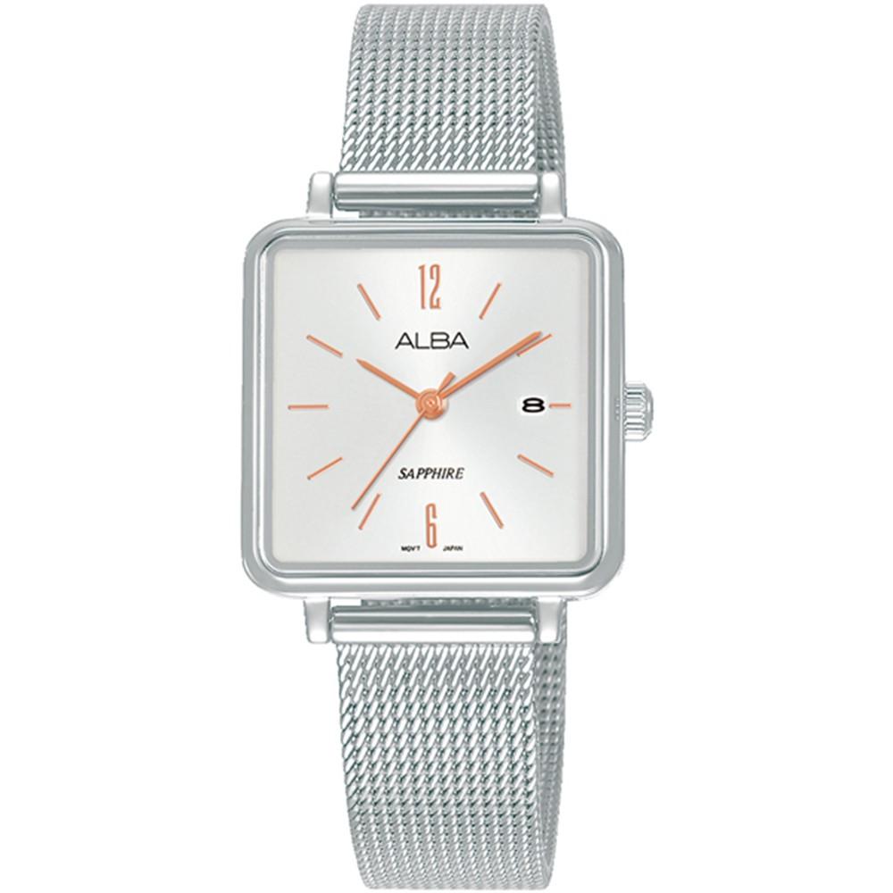 ALBA 雅柏 不鏽鋼米藍方頭錶帯-銀色(AH7V08X1)ERICASTORE
