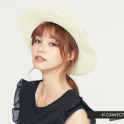 H:CONNECT 韓國品牌 緞帶造型編織帽-白
