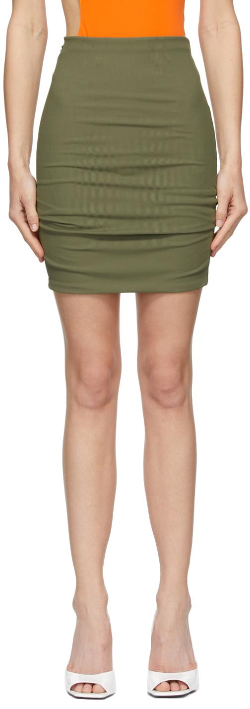 The Attico 绿色罗纹针织短裙
