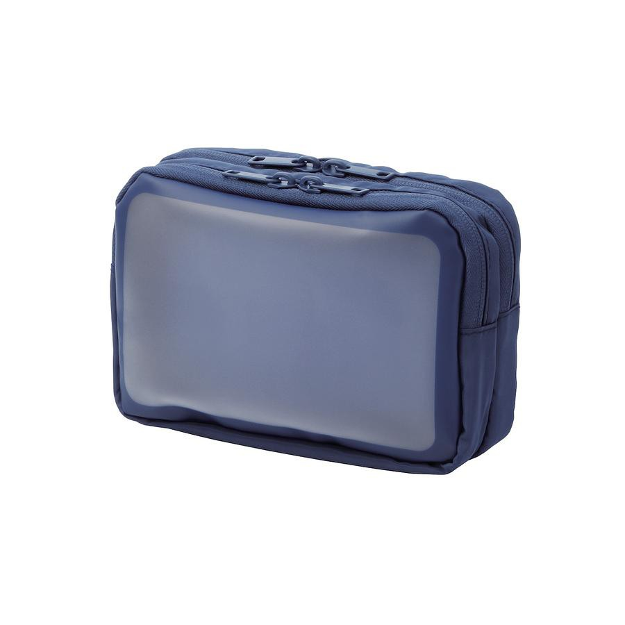 ELECOM半透明雙層收納包/ M/ 深藍 eslite誠品