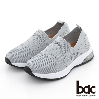 【bac】包覆感飛織水鑽休閒鞋-灰