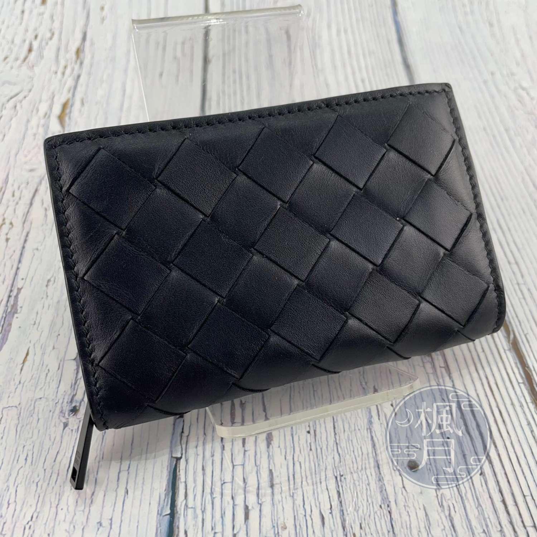 BRAND楓月 Bottega Veneta BV 黑色 寬編織 拉鍊 零錢包 寬版編織 錢包 零錢袋 皮夾