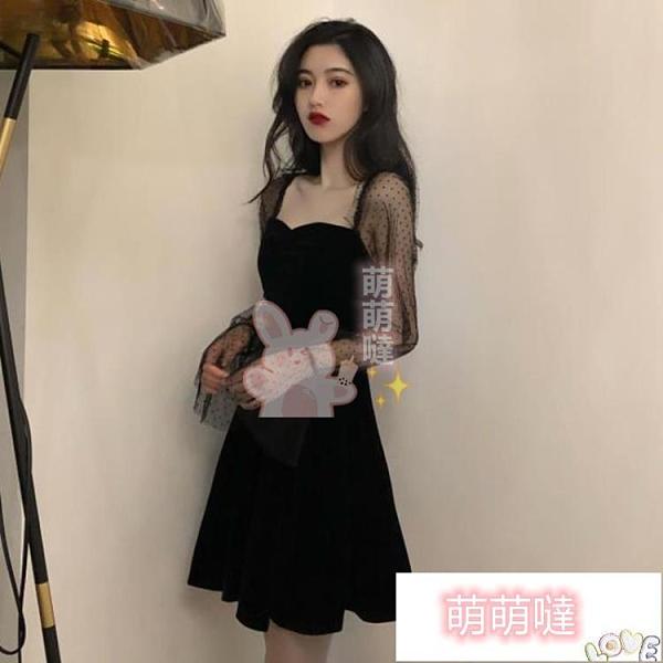 小黑裙 赫本風連身裙2021早春女裝方領法式復古小黑裙收腰仙女蓬蓬裙【萌萌噠】