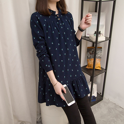 XL-5XL實拍雅致顯瘦百搭寬鬆純棉磨毛連身裙大碼女裝長袖洋裝(2色)-凱西娃娃