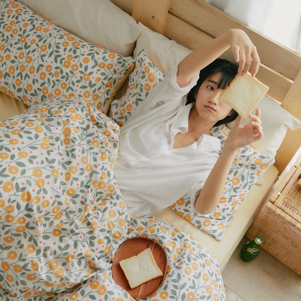 床包被套組(薄被套)-雙人 / 100% 精梳純棉 / 椿花