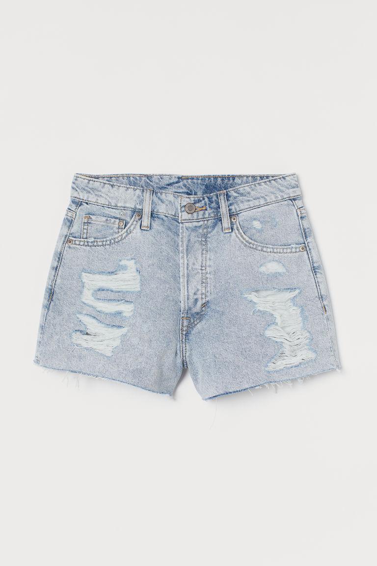 H & M - 高腰丹寧短褲 - 藍色