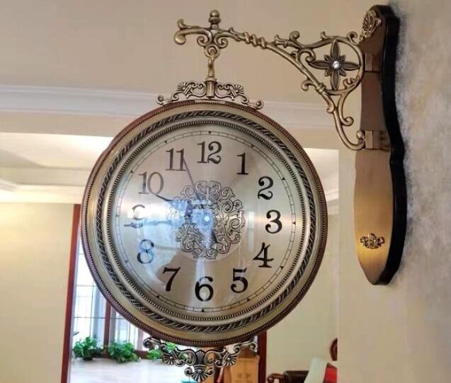 樂天優選 快速出貨 實木雙面掛鐘歐式鐘錶靜音客廳石英鐘兩面掛錶復古創意大時鐘-D6001