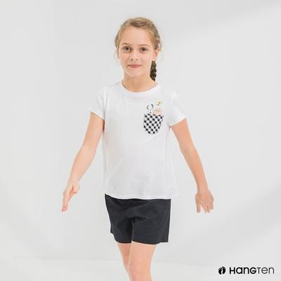 Hang Ten-女童-Charlie Brown格紋口袋短袖T恤-白色