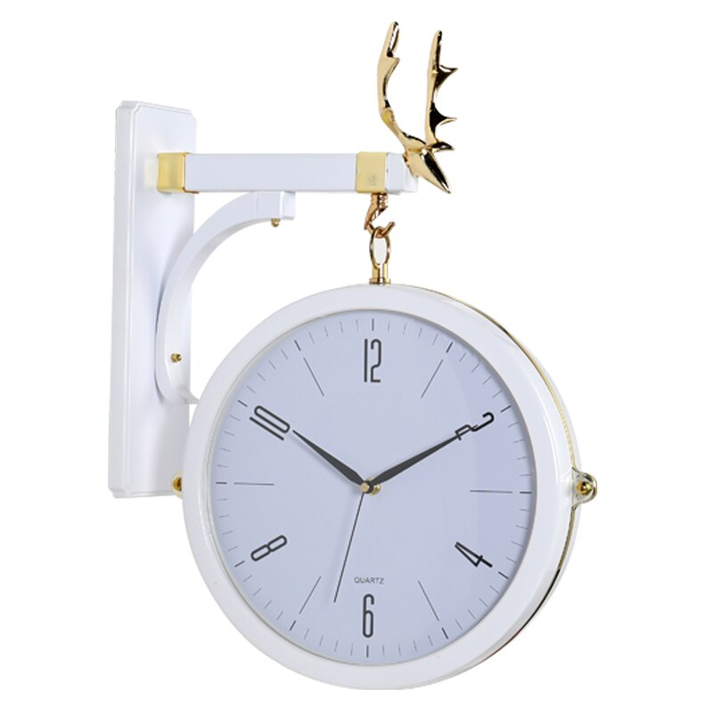 北歐風掛鐘 北歐雙面現代簡約輕奢大氣鐘表掛鐘時尚客廳家用個性創意石英掛表【DD35097】