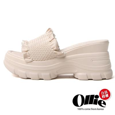 Aviator韓國空運-抓皺寬帶厚底舒壓馬卡龍撞色涼拖鞋-米-OLLIE預購+現貨