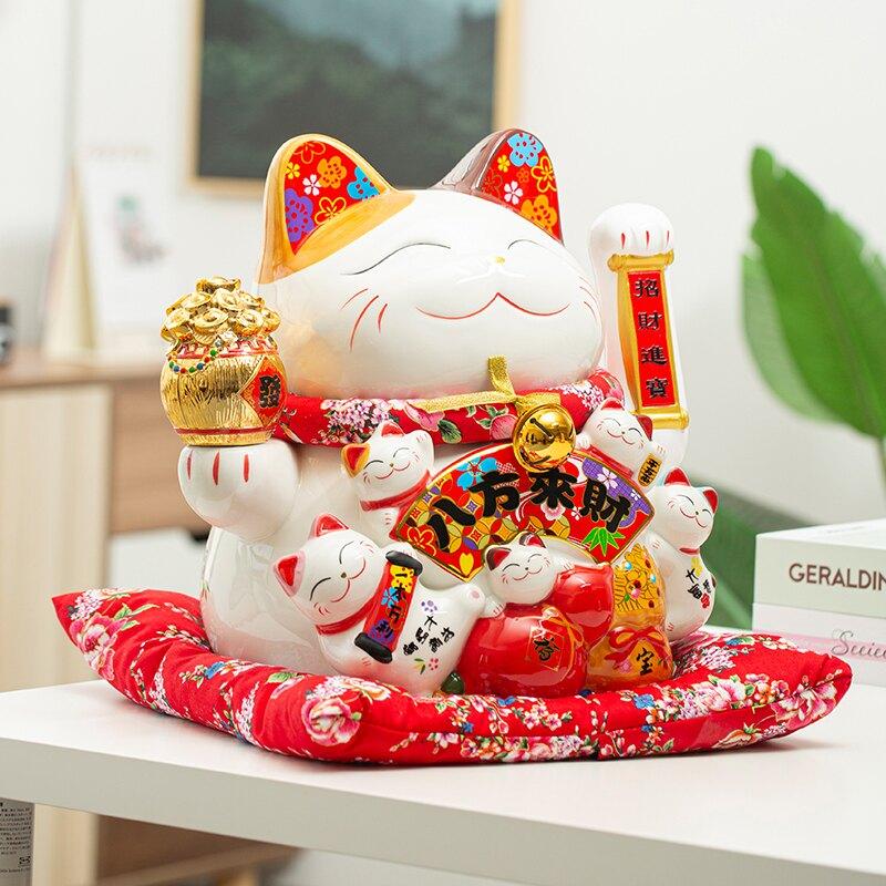 創意陶瓷招財貓大號擺件自動招手店鋪開業收銀臺禮品家居客廳裝飾