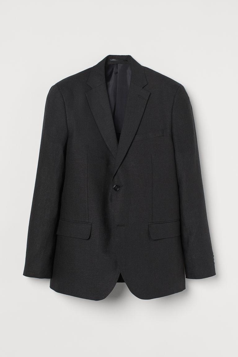 H & M - 貼身亞麻外套 - 黑色