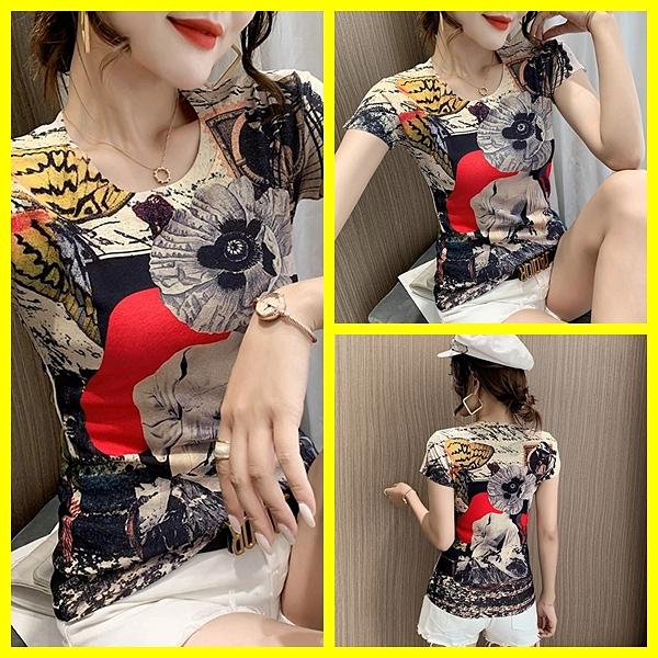 韓版時尚印花短袖修身上衣女 依酷衫