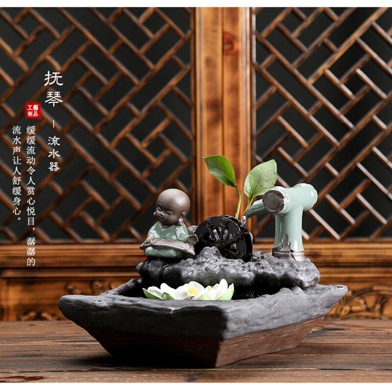 久造財源滾滾流水擺件陶瓷中式招財小和尚家居飾品家用噴泉流水器