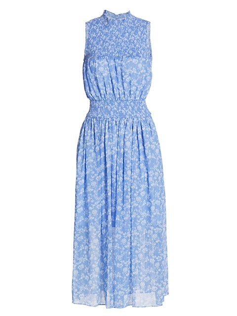 Printed Sleeveless Smocked Dress