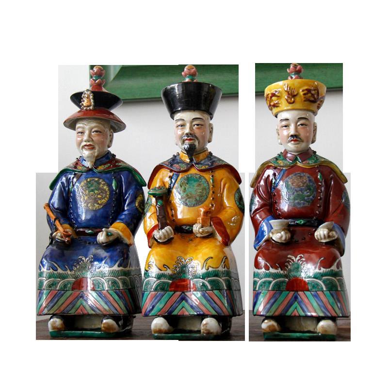 景德鎮陶瓷手工藝品青花/粉彩擺件康熙雍正乾隆皇帝擺件家居飾品