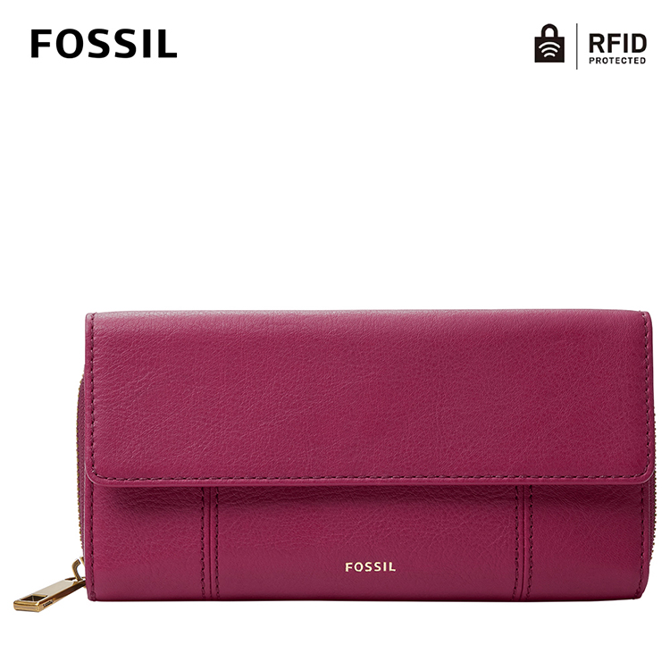 【FOSSIL】Jori 氣質掀蓋拉鍊RFID防盜長夾-莓果紫色 SWL2370653