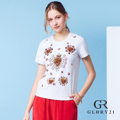 【GLORY21】心型亮片短袖棉T-白色