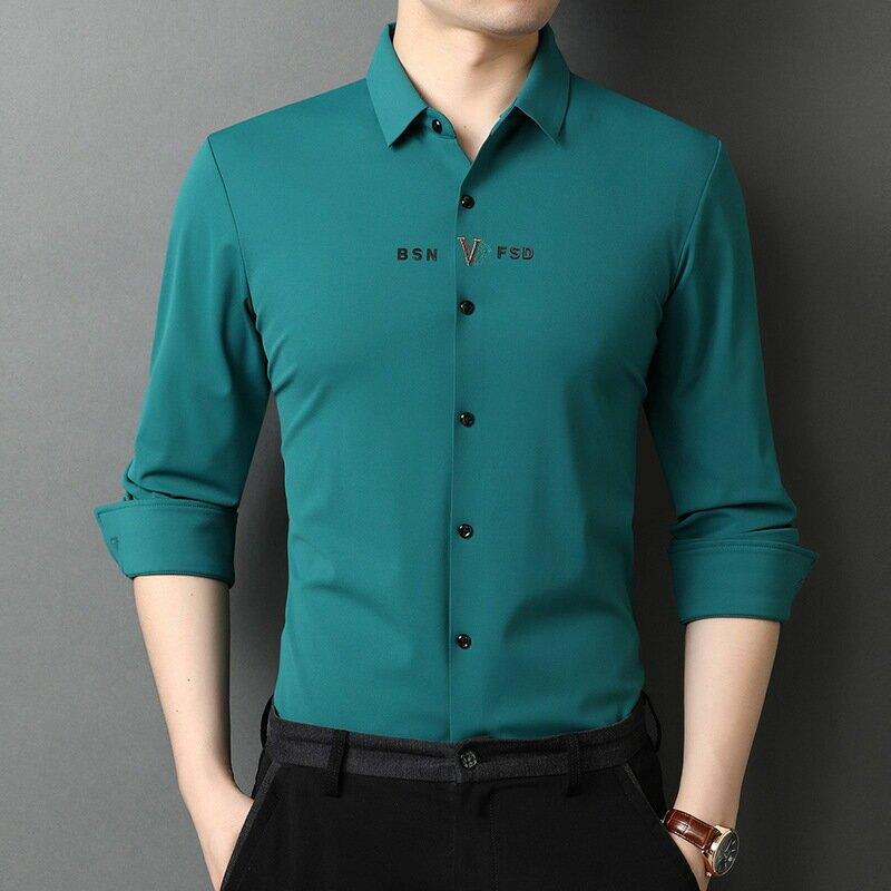 襯衫男長袖韓版寬鬆秋薄款純色襯衣男中年男士免燙寸衫潮春季男裝