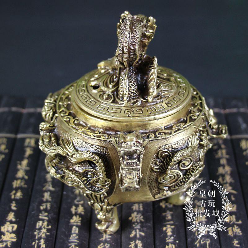 促銷銅器雜項黃銅擺件仿古復古禮品古玩古董收藏 雙龍香爐龍蓋